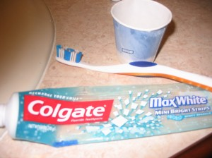 A clear tube of toothpaste from Colgate