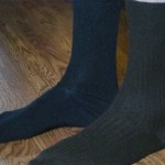 Socks & hardwood.  (Your socks don't match, dude!)