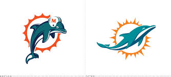 Miami Dolphins old  new logo
