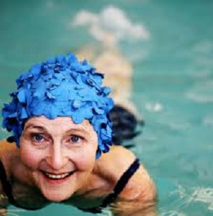 woman water aerobics
